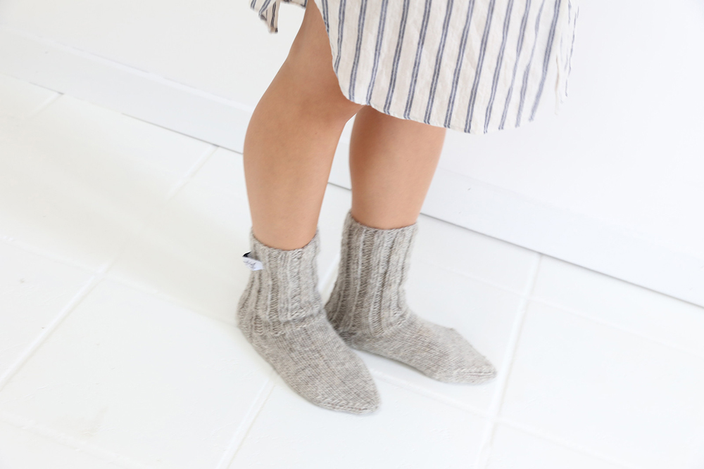 Bergfabel light grey wool socks