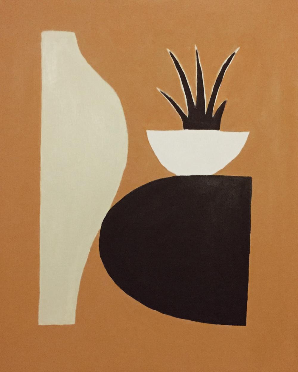 """John Zabawa, """"Vase & Plant on Rug"""""""